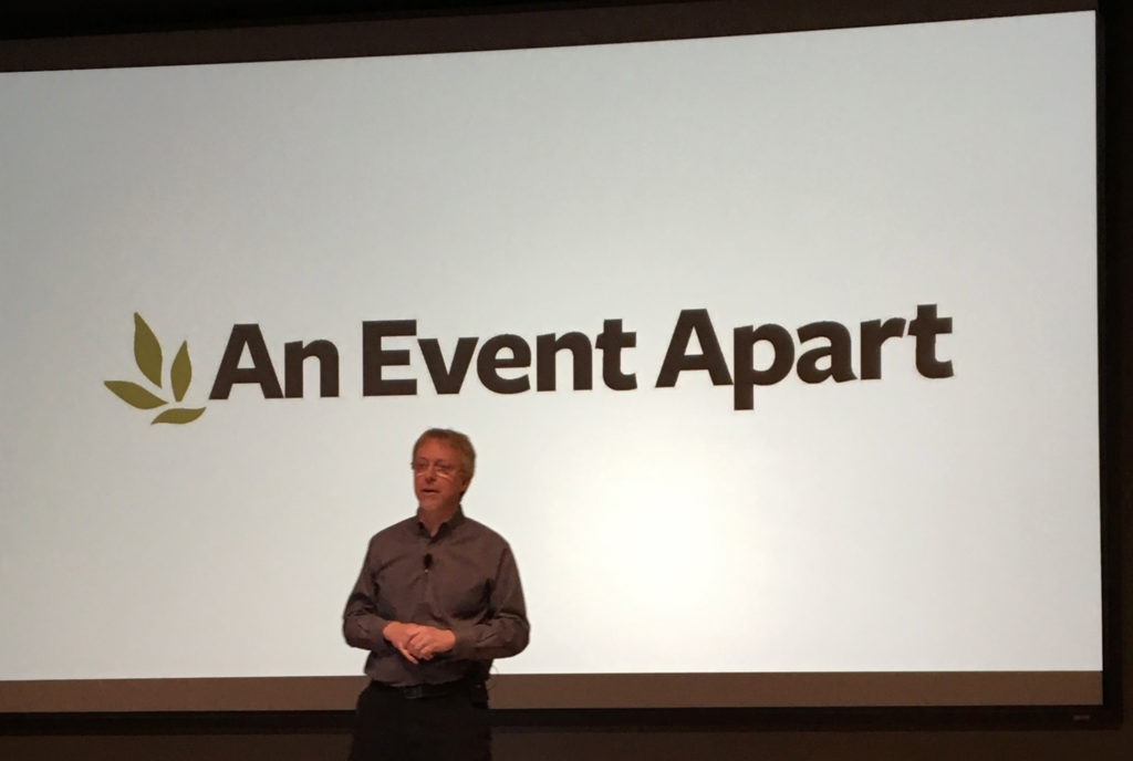 Eric Meyer on stage at An Event Apart 2017