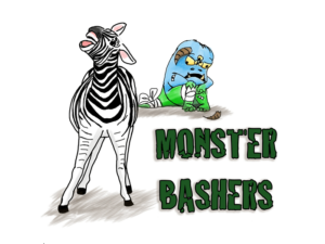 In the foreground, a triumphant zebra faces the camera braying. Behind it, a blue and green monster covered in bandages sulks. The image is captioned Monster Bashers